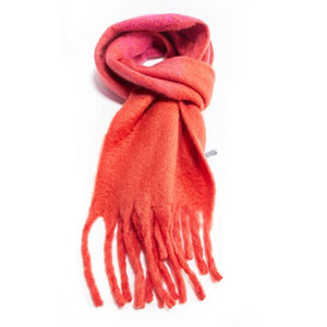 Ombre winter scarf in coral and hot pink