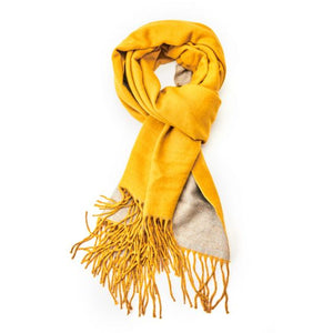 Plain soft yellow and grey scarf