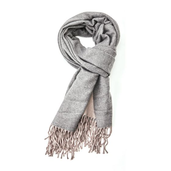 Plain soft two tone grey scarf