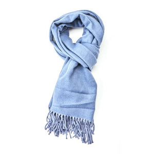 Plain soft blue and grey scarf
