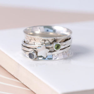 Sterling silver gemstone and star spinning ring