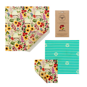 Beeswax food wraps - medium pack