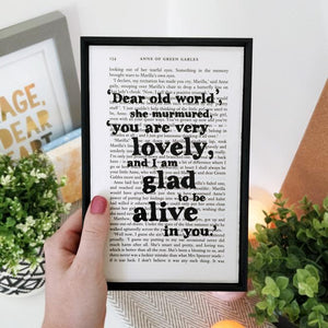 Dear Old World - book page print