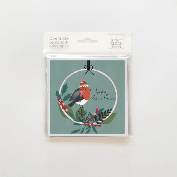 Happy Christmas - robin in wreath - pack of 5 cards