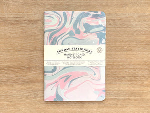 Dusk - pink grey marbled A5 notebook