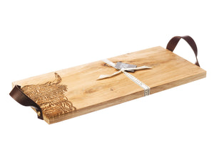 Thistle/Highland Cow Oak Serving Tray