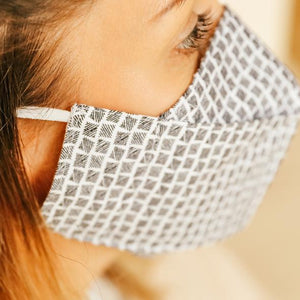 Navy white houndstooth pattern face mask