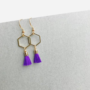 Hexagon Tassel Earrings - various colours