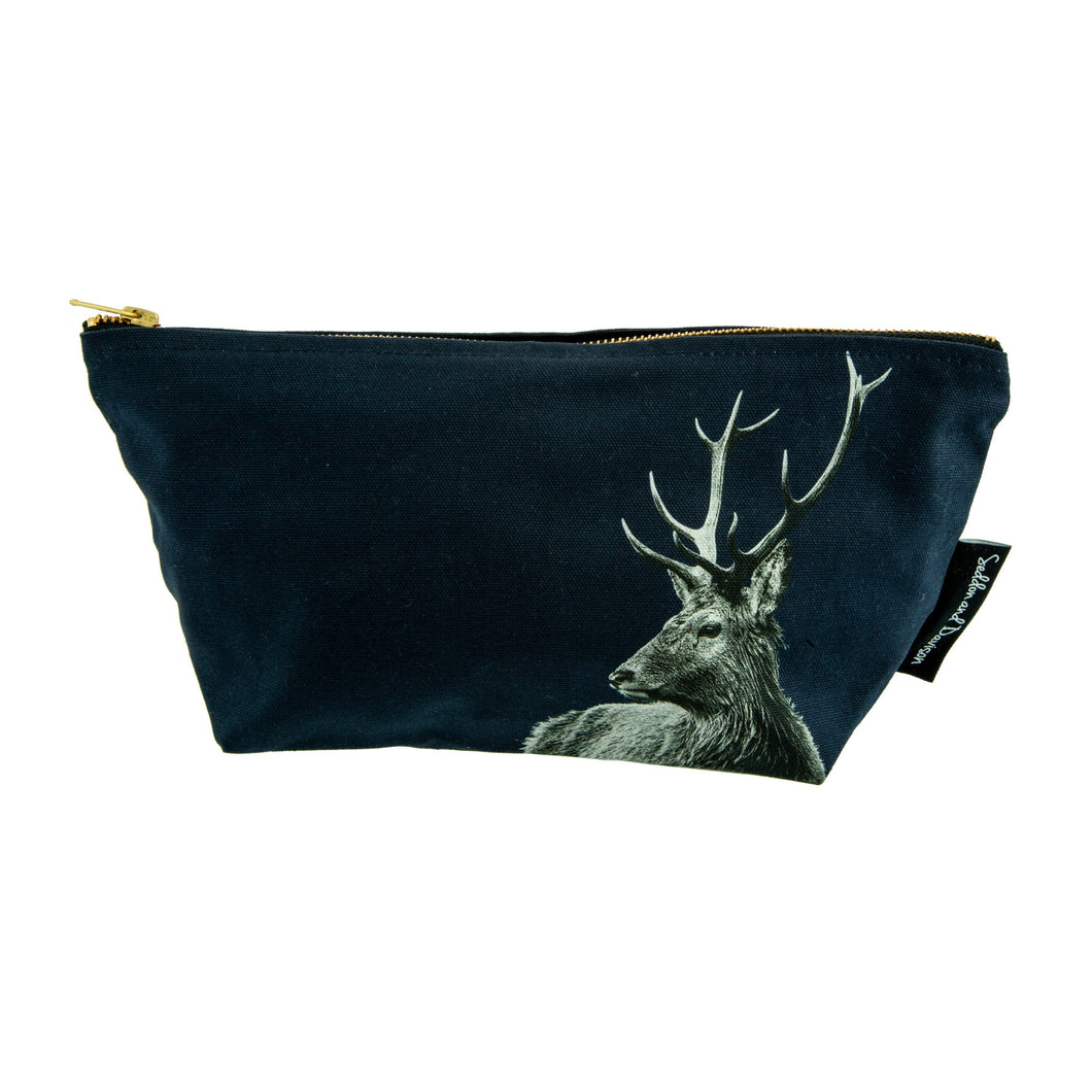 Highland Stag Wash Bag - Teal/Indigo/Blackberry