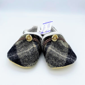Harris Tweed Baby Shoes - grey check