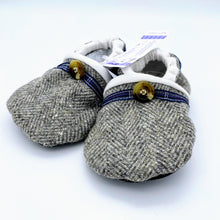 Load image into Gallery viewer, Harris Tweed Baby Shoes - grey herringbone