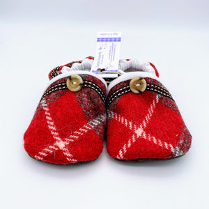 Harris Tweed Baby Shoes - red/grey check