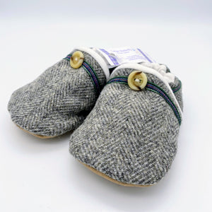 Harris Tweed Baby Shoes - grey herringbone