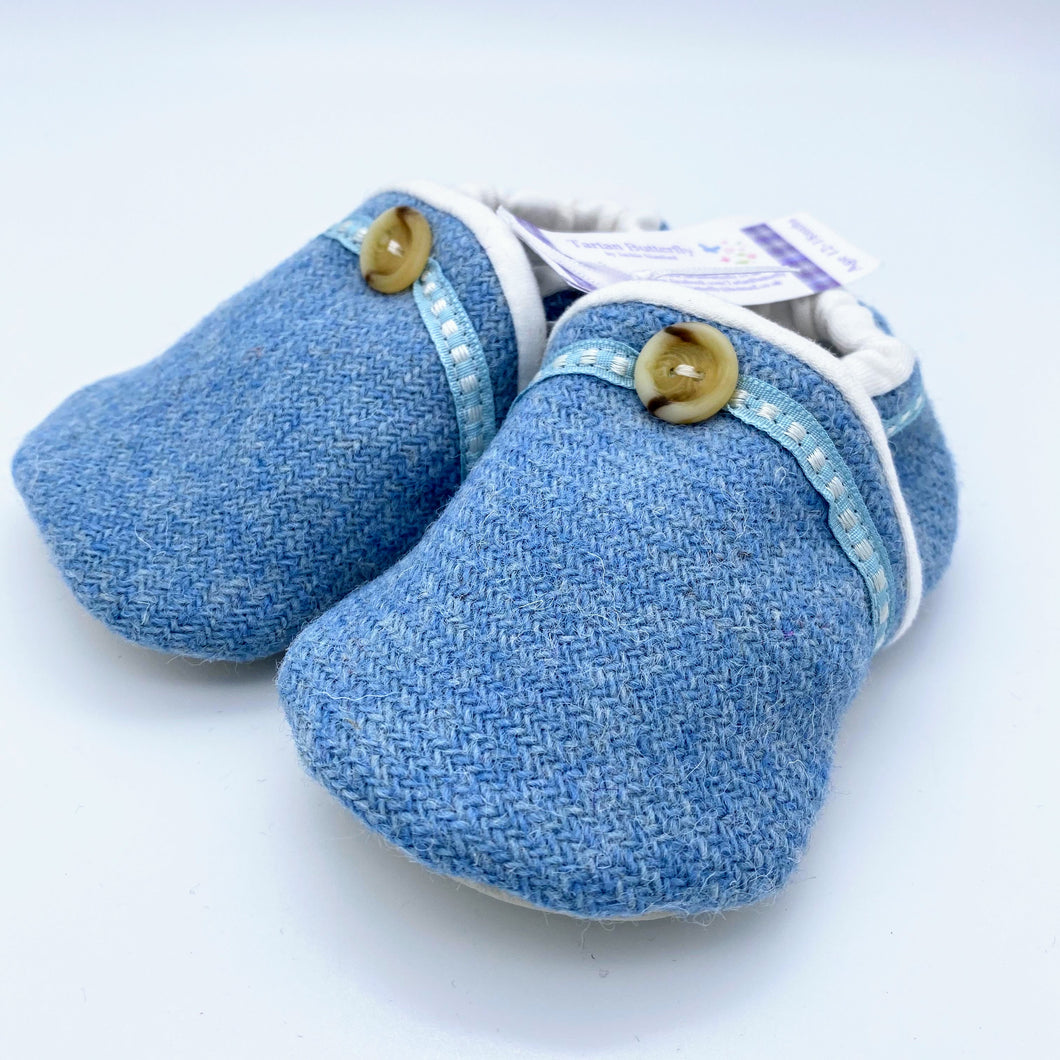 Harris Tweed Baby Shoes - plain light blue