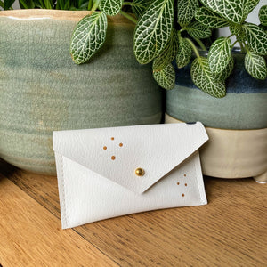 Recycled Leather Card Holder - Navy Spot