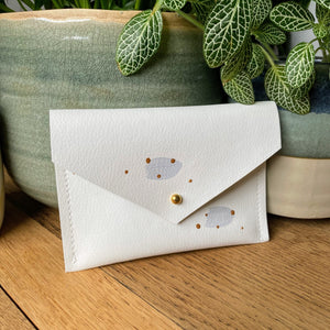 Recycled Leather Purse - Grey Spots