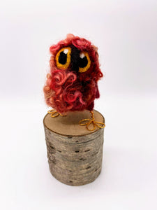 Needle Felted Rusty Red Baby Owl