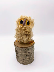 Needle Felted Blonde Baby Owl