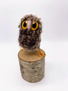 Needle Felted Brown Baby Owl