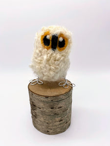 Needle Felted White Baby Owl