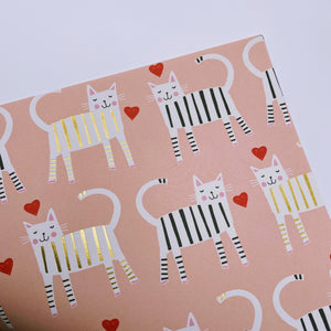 Pink Cats wrapping paper