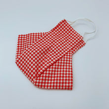 Load image into Gallery viewer, Red Gingham face mask non wired