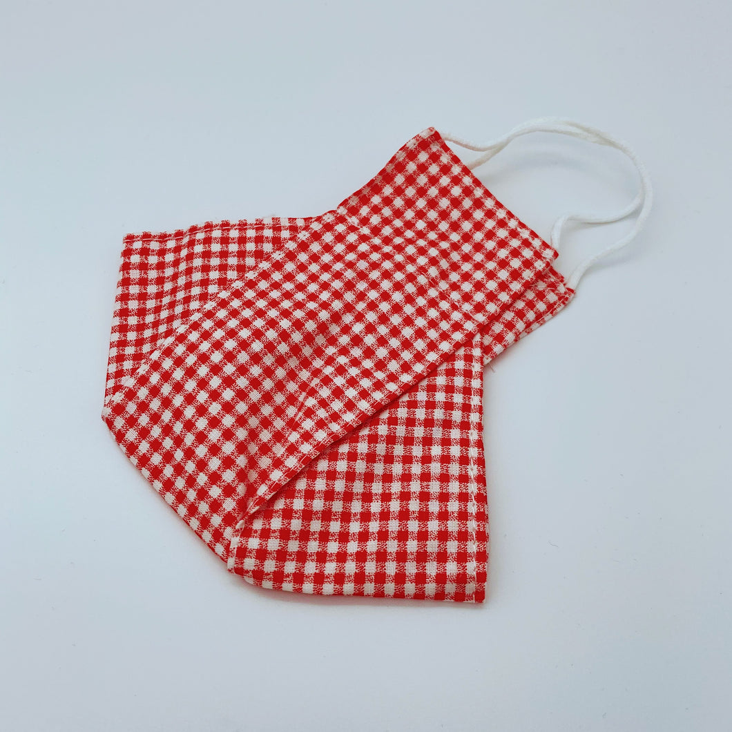 Red Gingham face mask non wired