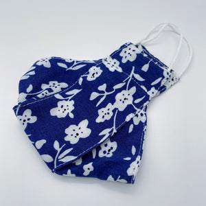 Indigo blue floral mask non wired