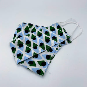 Green geometric face mask non wired