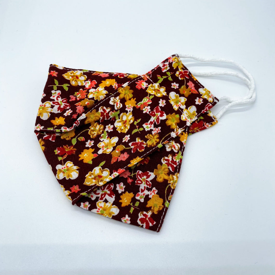 Dark red floral face mask non wired