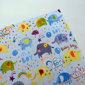 Baby Boy Elephant Cloud wrapping paper