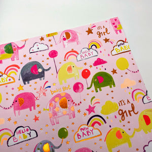 Baby Girl Elephant Cloud wrapping paper
