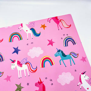 Pink Unicorns wrapping paper
