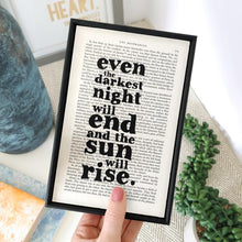 Load image into Gallery viewer, Even the Darkest Night Will End - book page print