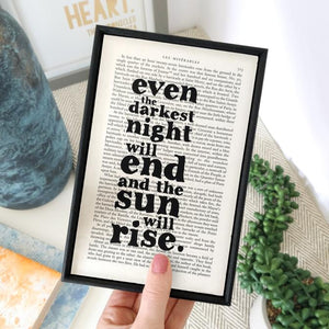 Even the Darkest Night Will End - book page print