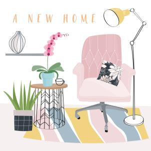 A New Home card pink chair