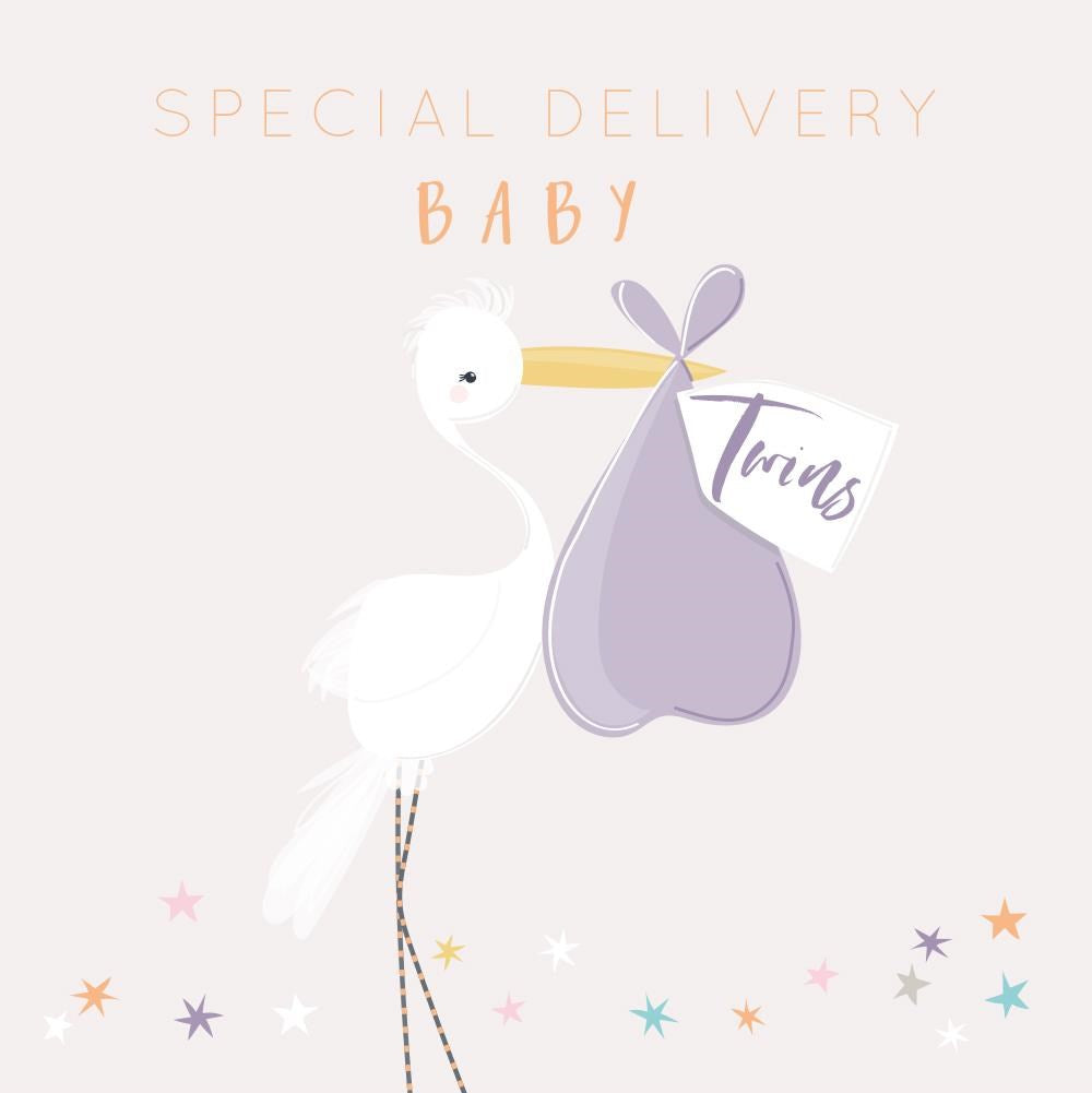 Special Delivery - Twins baby card
