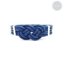 Load image into Gallery viewer, Navy Cork Nautical Knot Bracelet