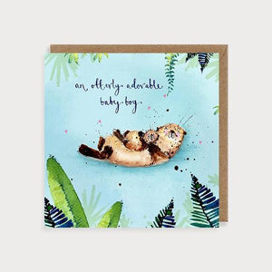 Otterly Adorable Baby Boy card