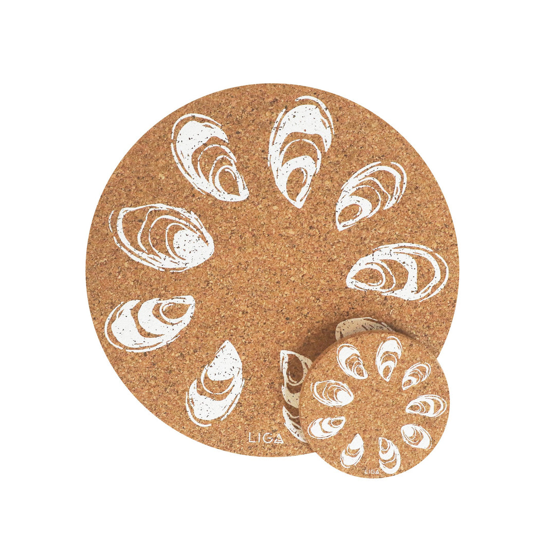 Oyster cork coasters and placemats