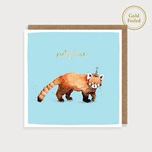 Party Time - red panda safari birthday card