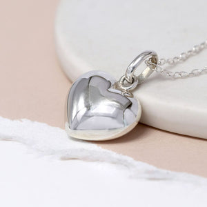 Sterling silver rounded heart necklace