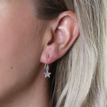 Load image into Gallery viewer, Sterling silver star drop earrings