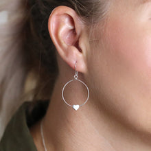 Load image into Gallery viewer, Silver hoop heart earrings