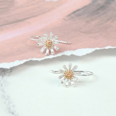 Sterling silver and rose gold daisy earrings