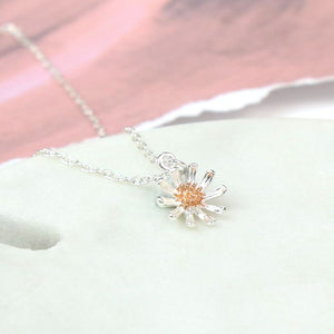 Sterling silver and rose gold daisy necklace