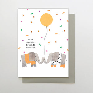 Born Together Friends Forever - twins baby card