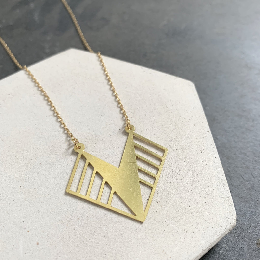 Geometric Brass Zelda Necklace