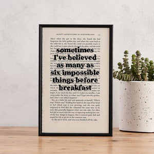 Six Impossible Things - book page print