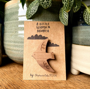 Wooden Bird Brooch